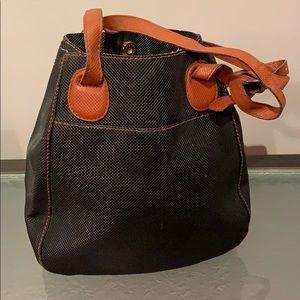 Black and brown leather shoulder bag